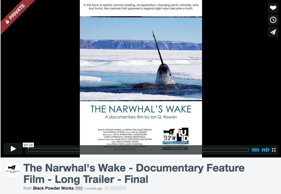 Check Out The Narwhal's Wake Trailer on Vimeo, Just Message Me for the Password.